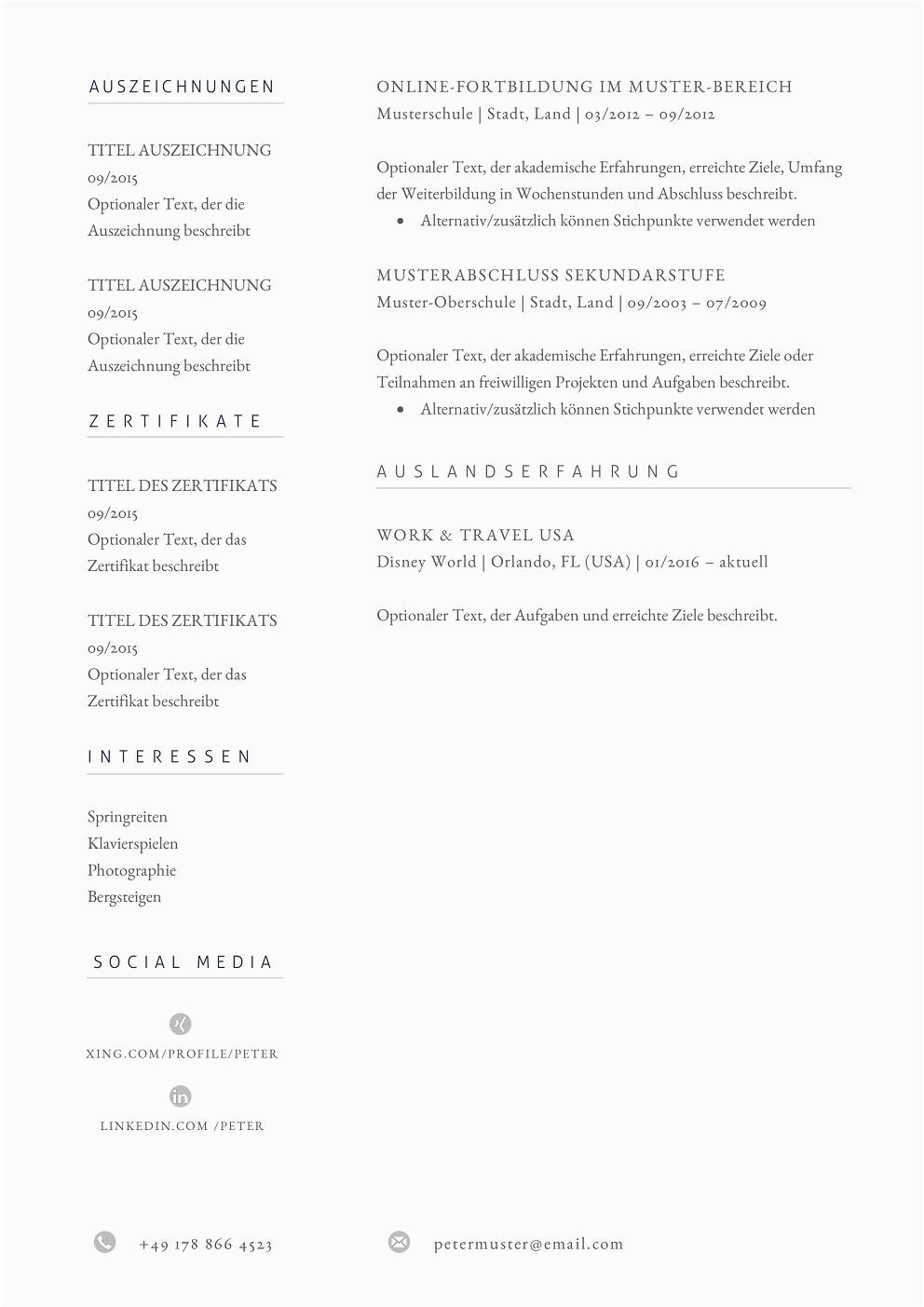 Lebenslauf Muster Design 11 Premium Bewerbungsmuster 11