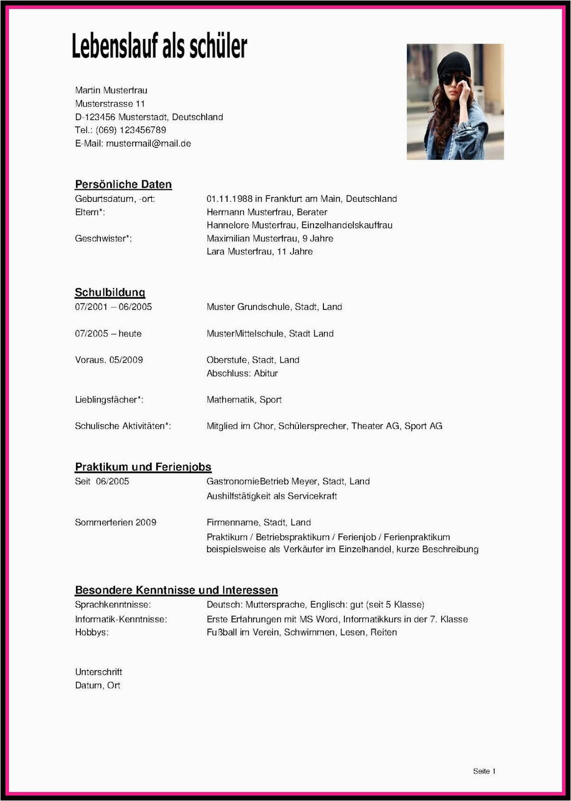 lebenslauf schuelerpraktikum klasse muster kostenlos vorlage pdf praktikum 16 luxus bewerbung famulatur deutsch solche knnen