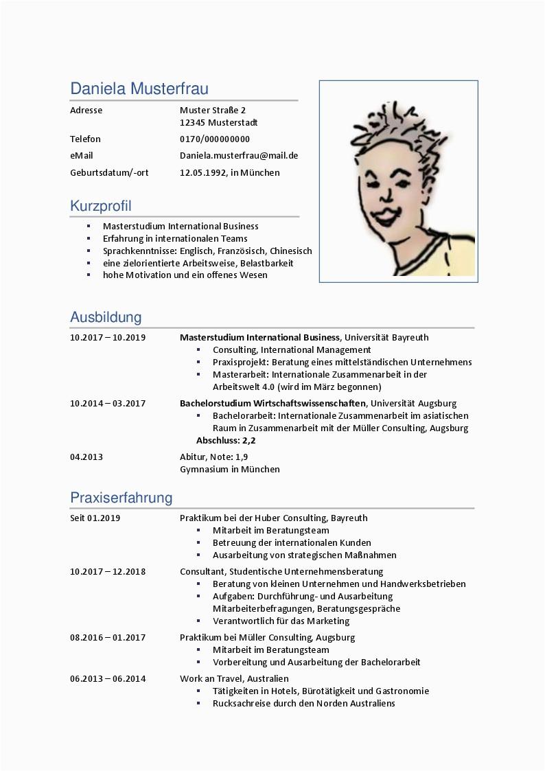 Muster 1 Lebenslauf mit Bild PDF