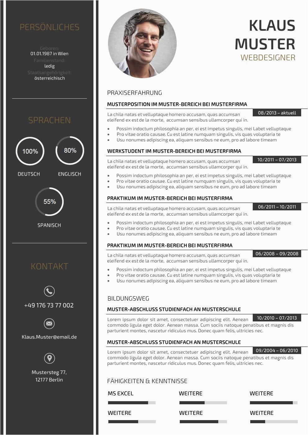 Lebenslauf Vorlage Design Premium Bewerbungsmuster 3
