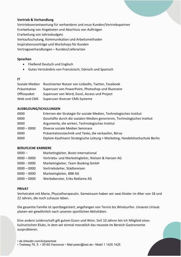 Lebenslauf Vorlage Kompetenzen mit berufliche qualifikationen page2 1