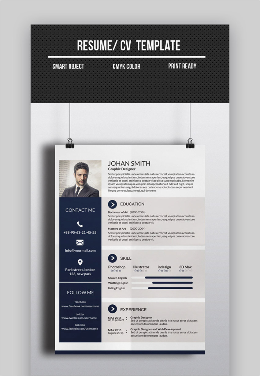 one page resume cv template