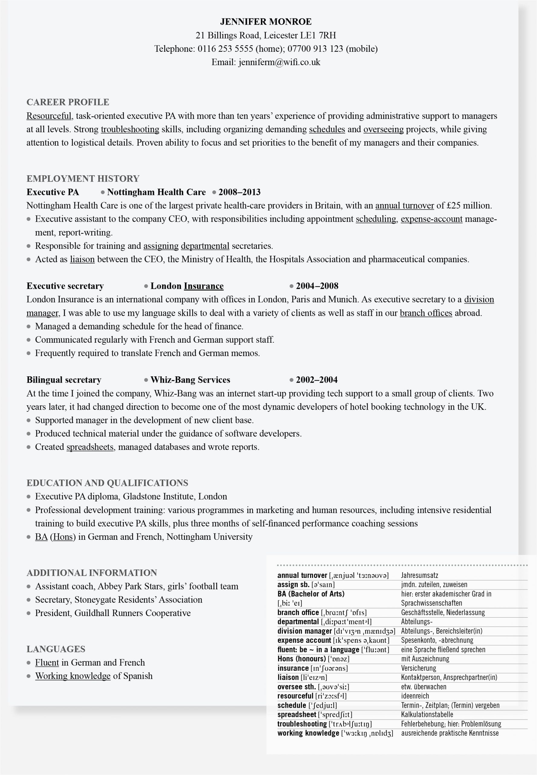 Lebenslauf Englisch Personal Profile so Schreiben Sie Einen Englischen Lebenslauf