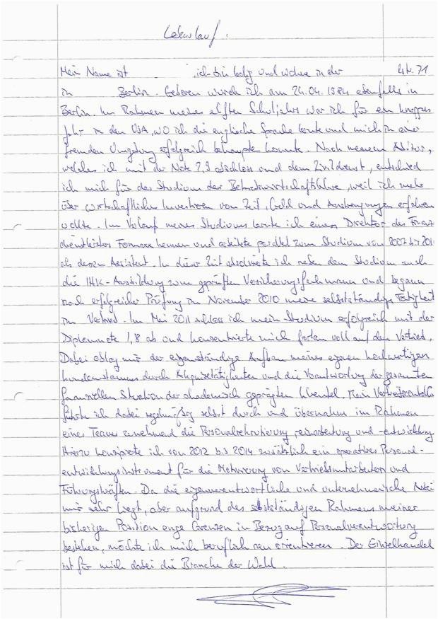handgeschriebener lebenslauf