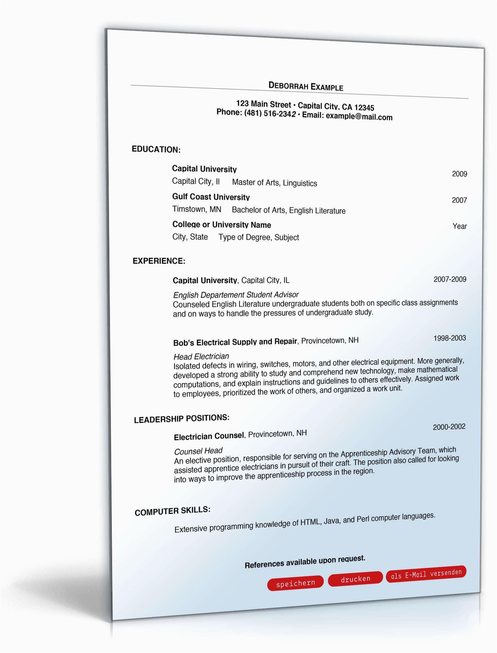 Formular Lebenslauf Englisch Englischer Lebenslauf Muster Vorlage sofort Zum Download