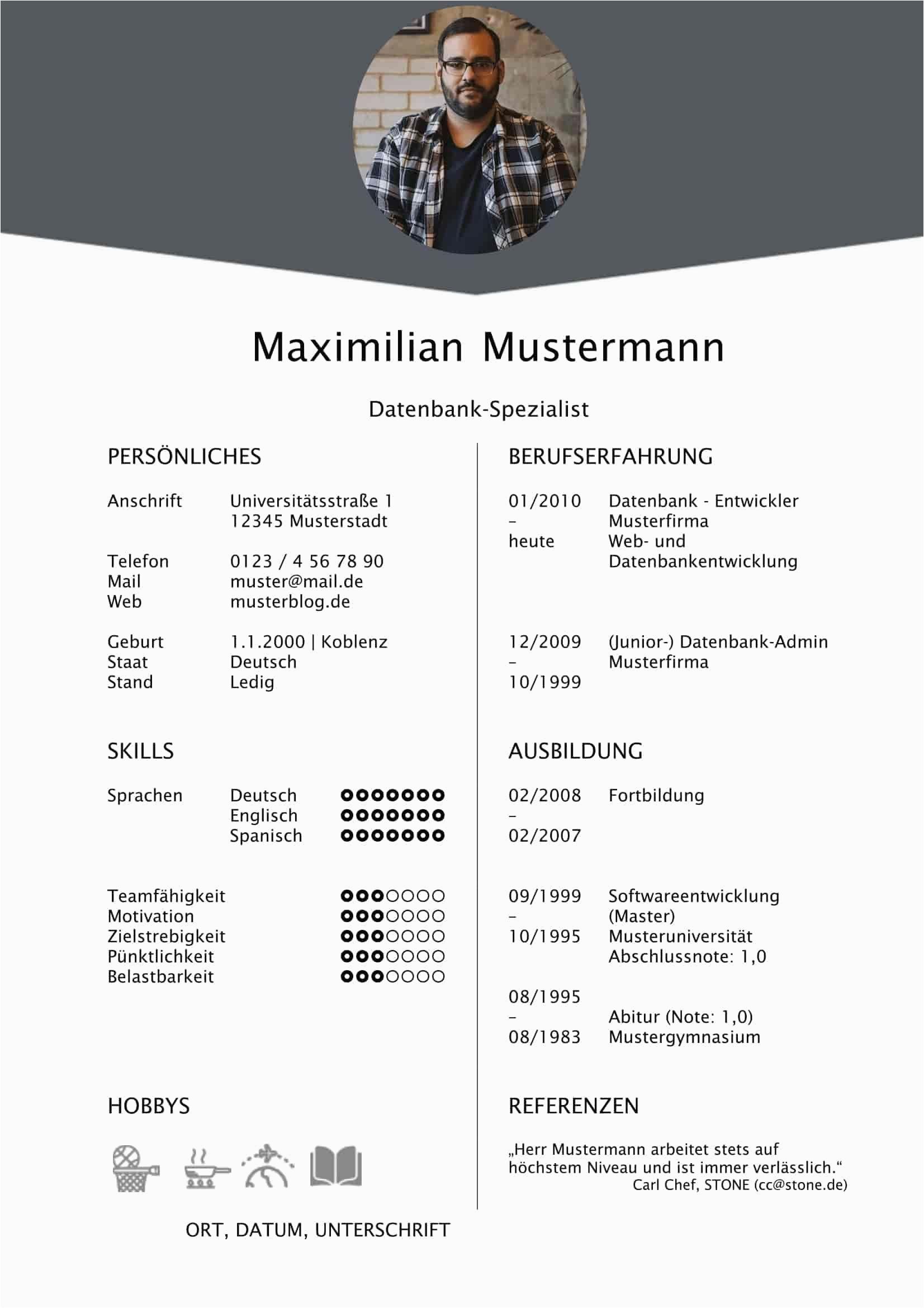 Lebenslauf Deutsch Muster Doc 20 Lebenslauf Vorlagen Tabellarisch In 2020