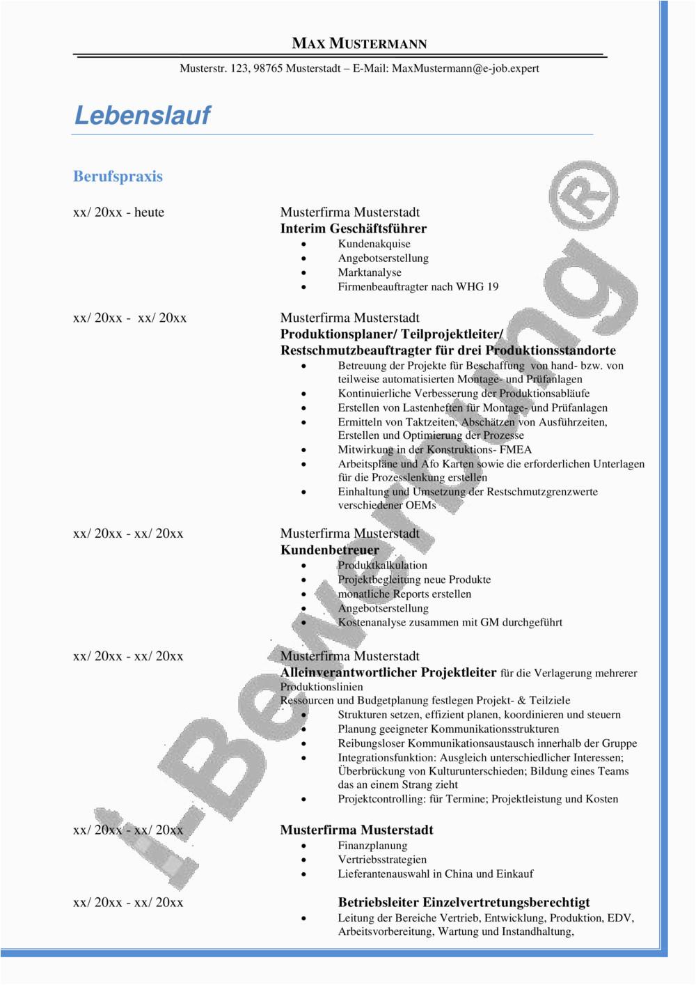 i Bewerbung Fuehrungskraft im technischen Bereich CV pdf
