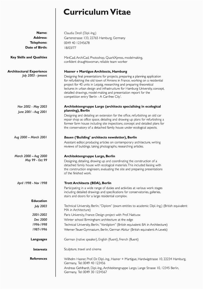Lebenslauf Englisch Job Der Lebenslauf Curriculum Vitae Resume Focus Line