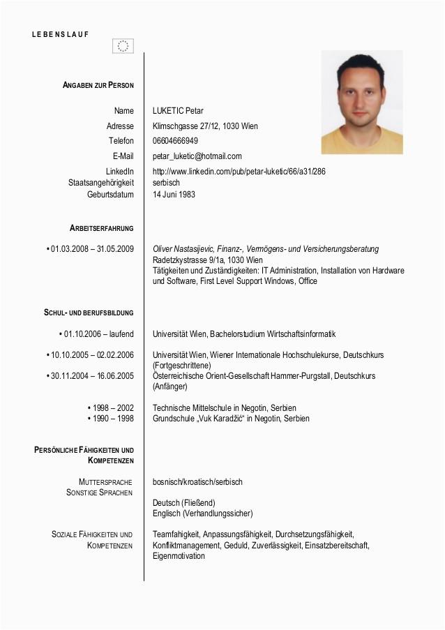 Lebenslauf Englisch Verhandlungssicher Cv Petar Luketic