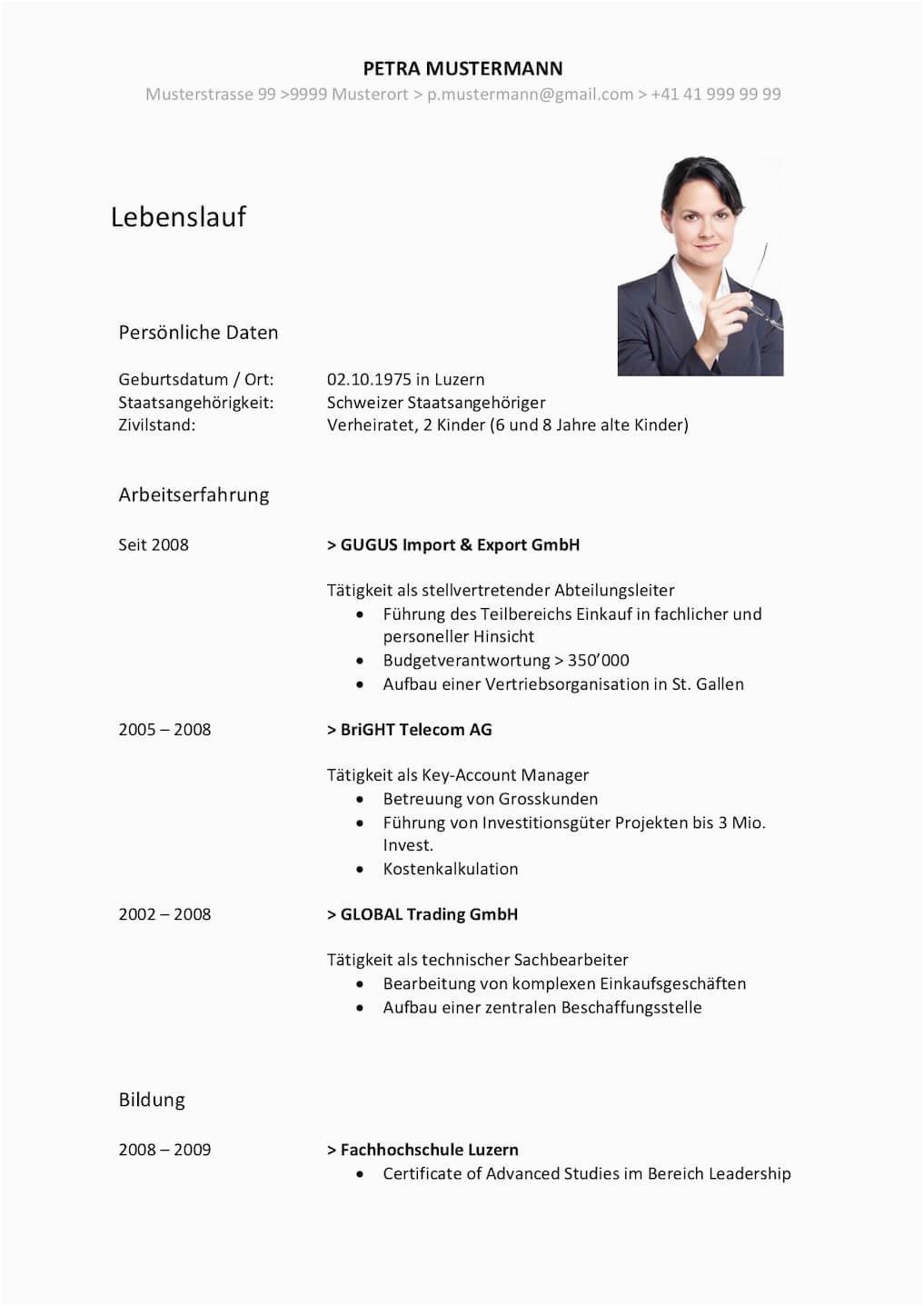 Lebenslauf Gestalten Schweiz Lebenslauf Vorlage Klassisch & Modern
