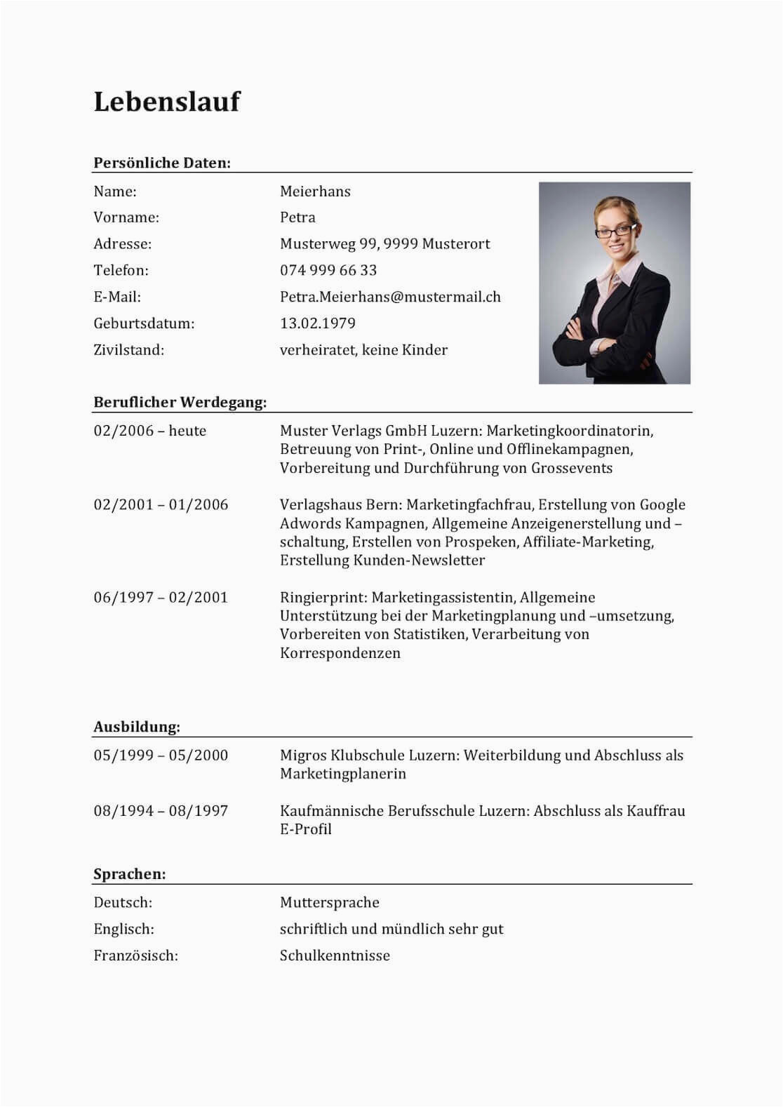 Lebenslauf Vorlagen Ch Lebenslauf Vorlagen & Muster Für Bewerbung In Der Schweiz