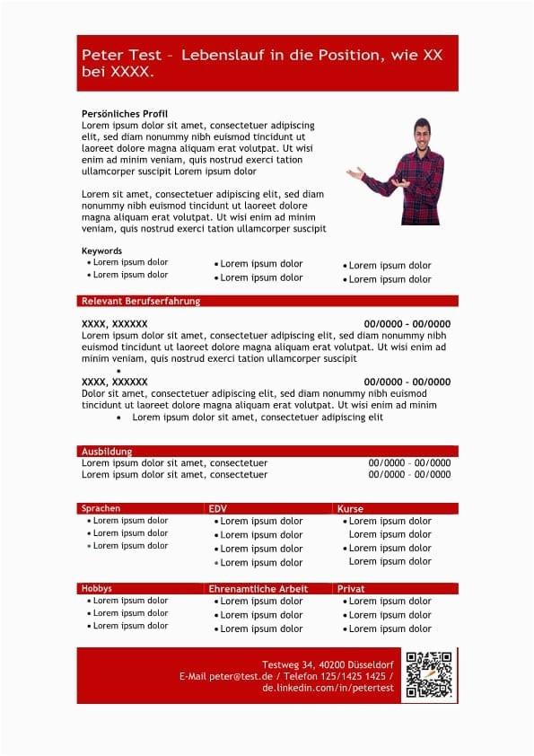 1 Vorlage Lebenslauf mit Profil in tabellarischer Form rot