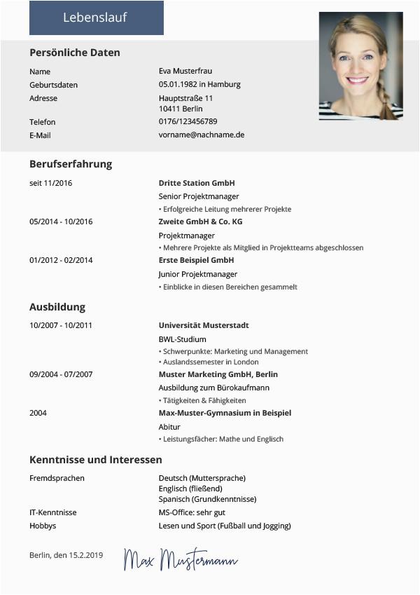 Moderner Lebenslauf Ausbildung Lebenslauf Vorlagen & Muster Kostenloser Download Als Pdf