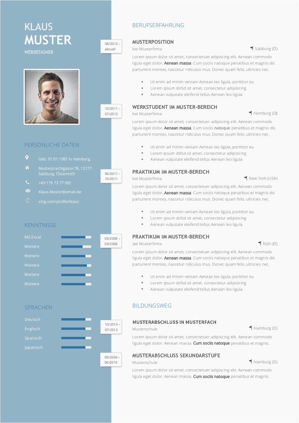bewerbung lebenslauf design vorlage premium bewerbungsmuster 1 of bewerbung lebenslauf design vorlage