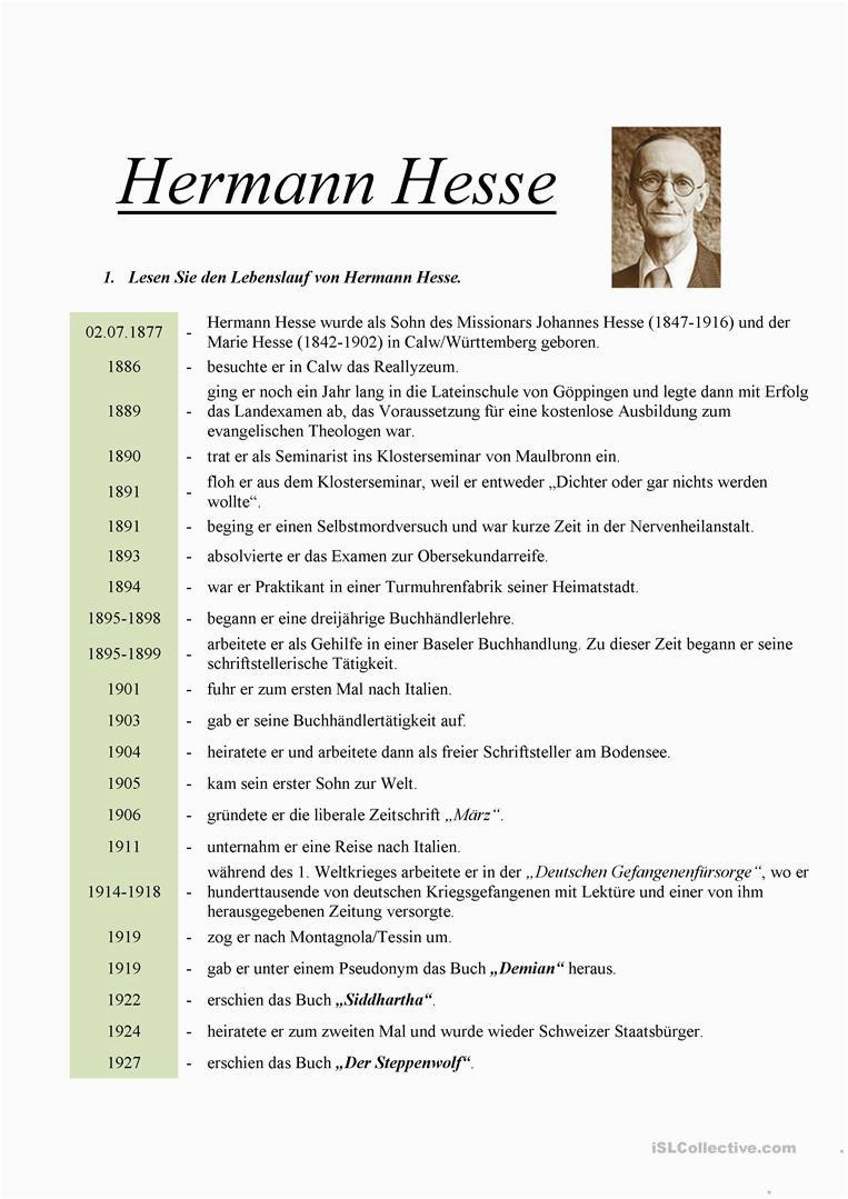 hermann hesse arbeitsblatter leseverstandnis 1