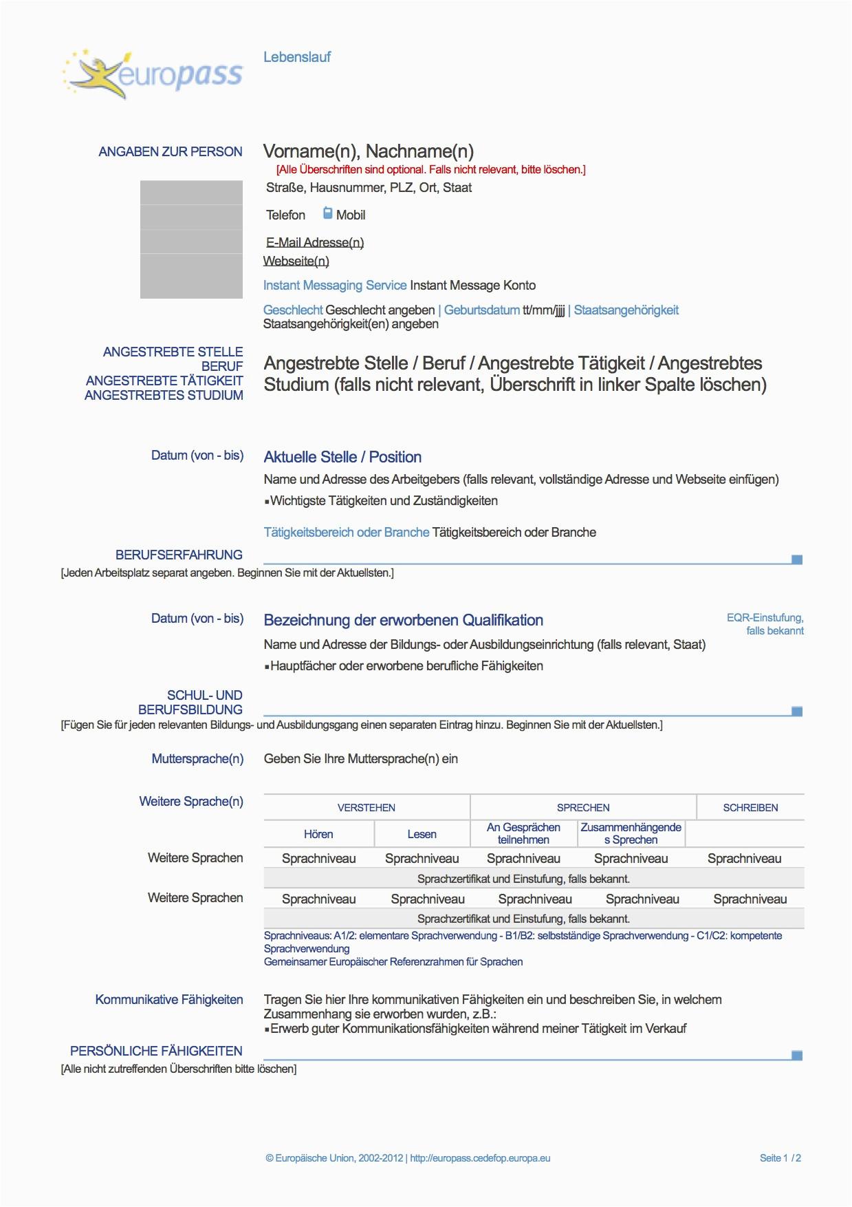 Europass Lebenslauf Deutsch Download Europass Lebenslauf Deutsch Muster Lebenslauf