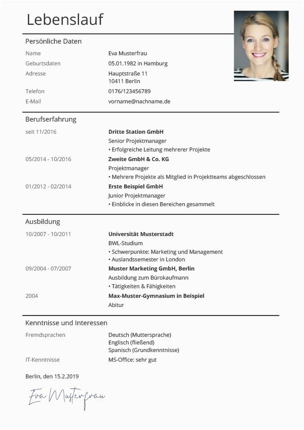 Lebenslauf Auf Deutsch Online Lebenslauf Vorlagen & Muster Kostenloser Download Als Pdf