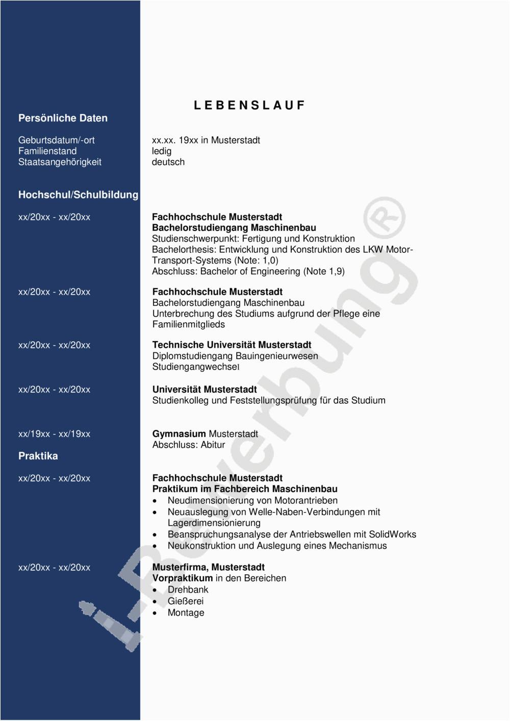 Initiativbewerbung Konstruktionsingenieur Lebenslauf Axel 635 pdf