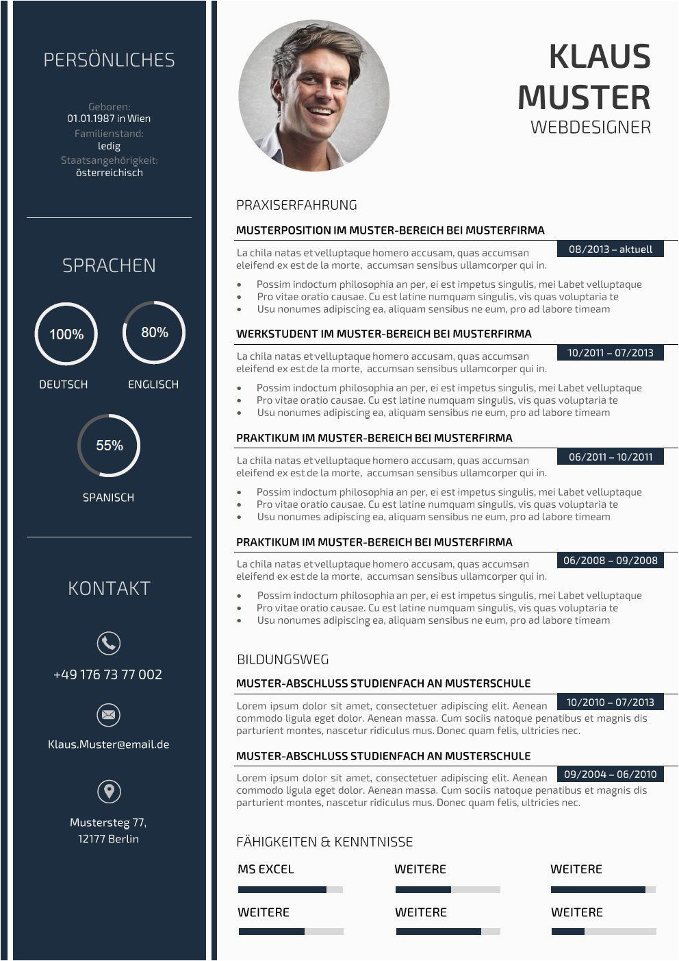 Lebenslauf Design Muster Premium Bewerbungsmuster 3