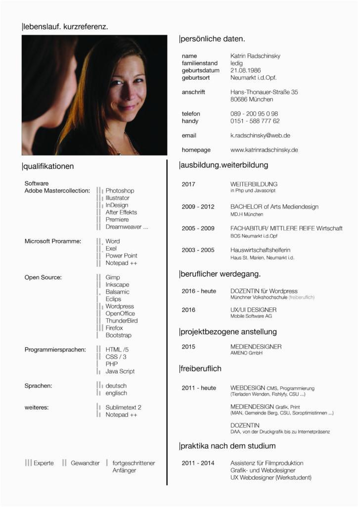 Lebenslauf In Grafikdesign Lebenslauf – Katrin Radschinsky Portfolio