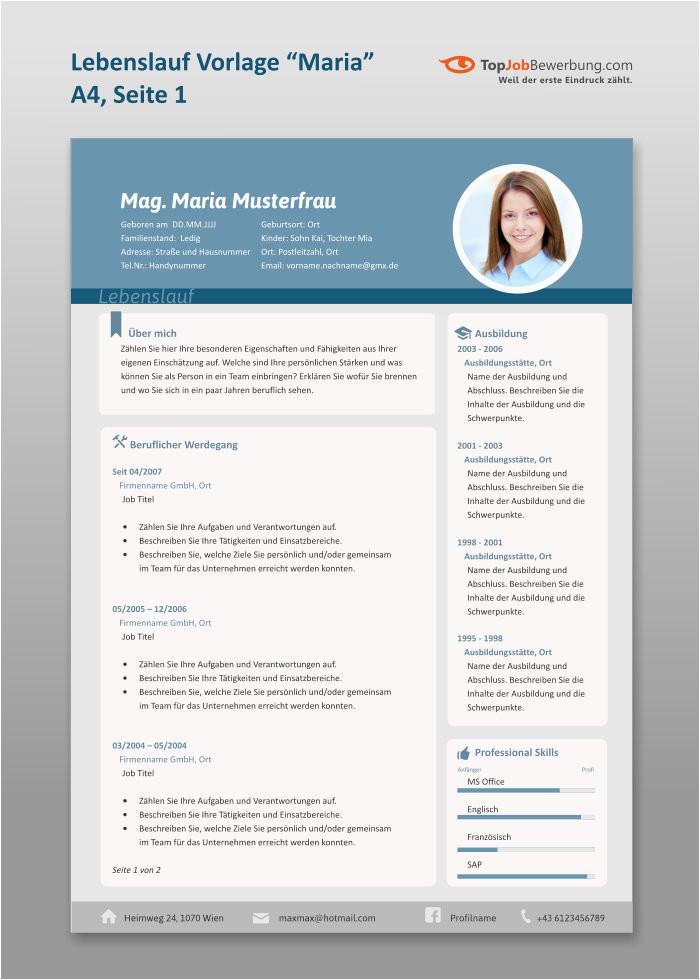 Lebenslauf Vorlage Maria A4 erste Seite
