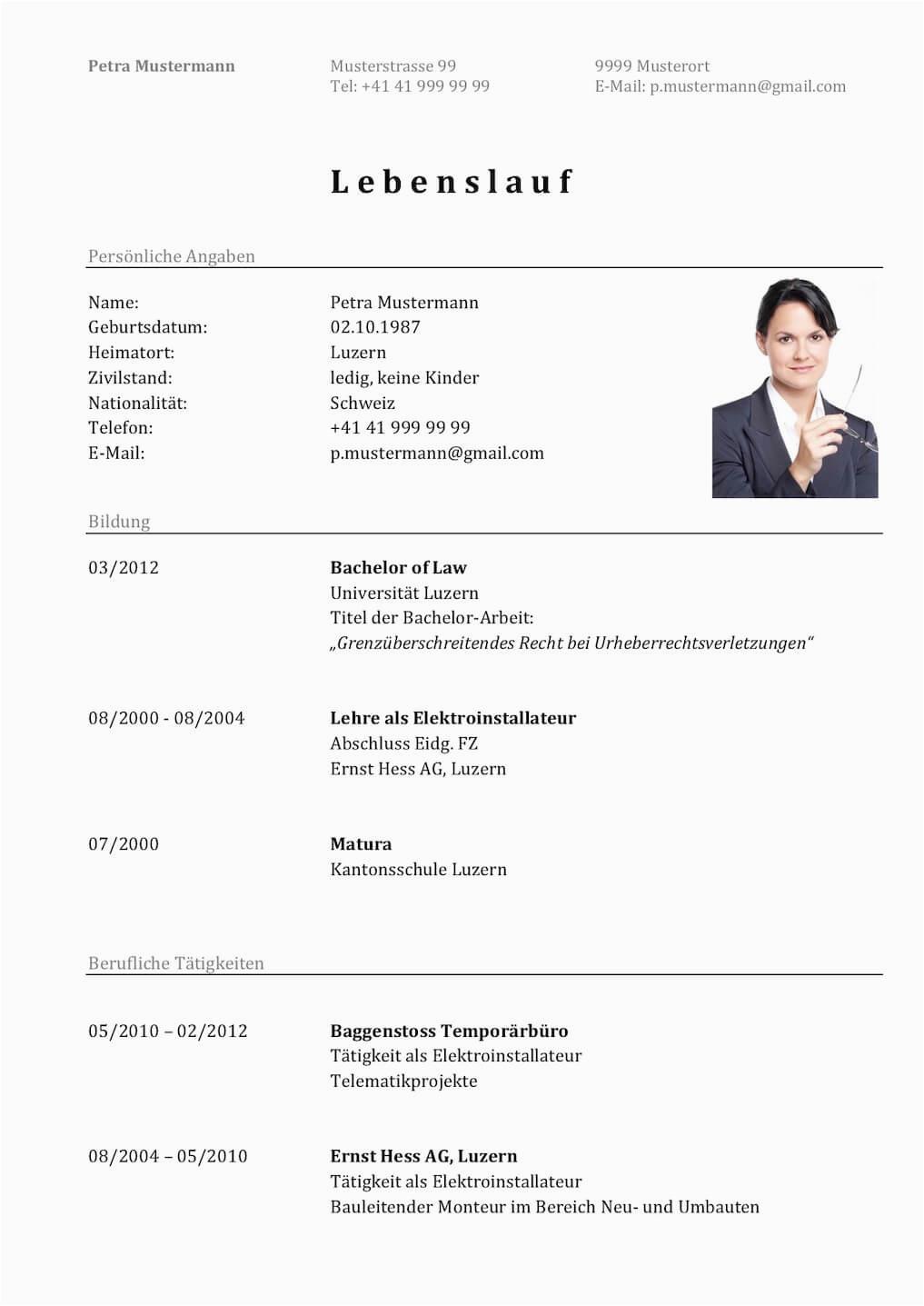 Lebenslauf Vorlagen Word Schweiz Lebenslauf Vorlage Klassisch & Modern