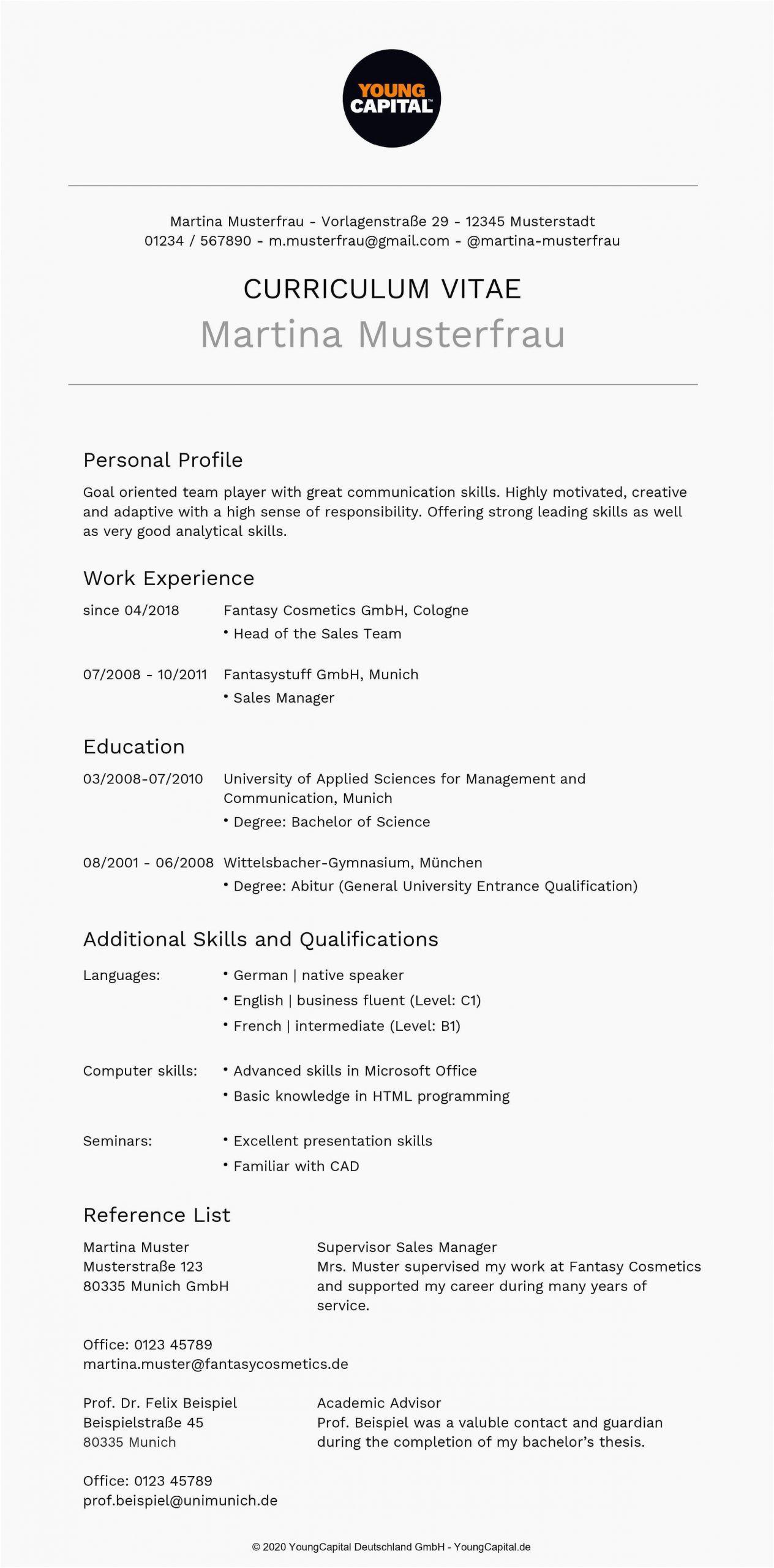 Level C1 Englisch Im Lebenslauf Curriculum Vitae Lebenslauf Englisch Bewerbung Auf Englisch