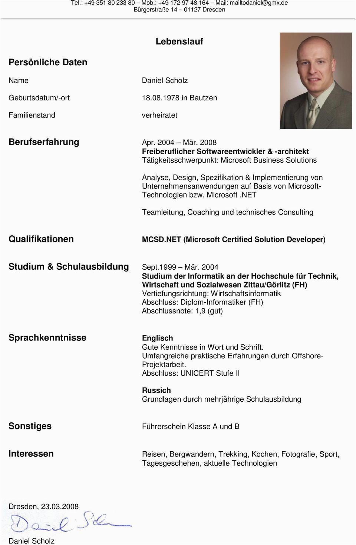 Lebenslauf berufserfahrung apr 2004 maer 2008 freiberuflicher softwareentwickler architekt taetigkeitsschwerpunkt microsoft business solutions