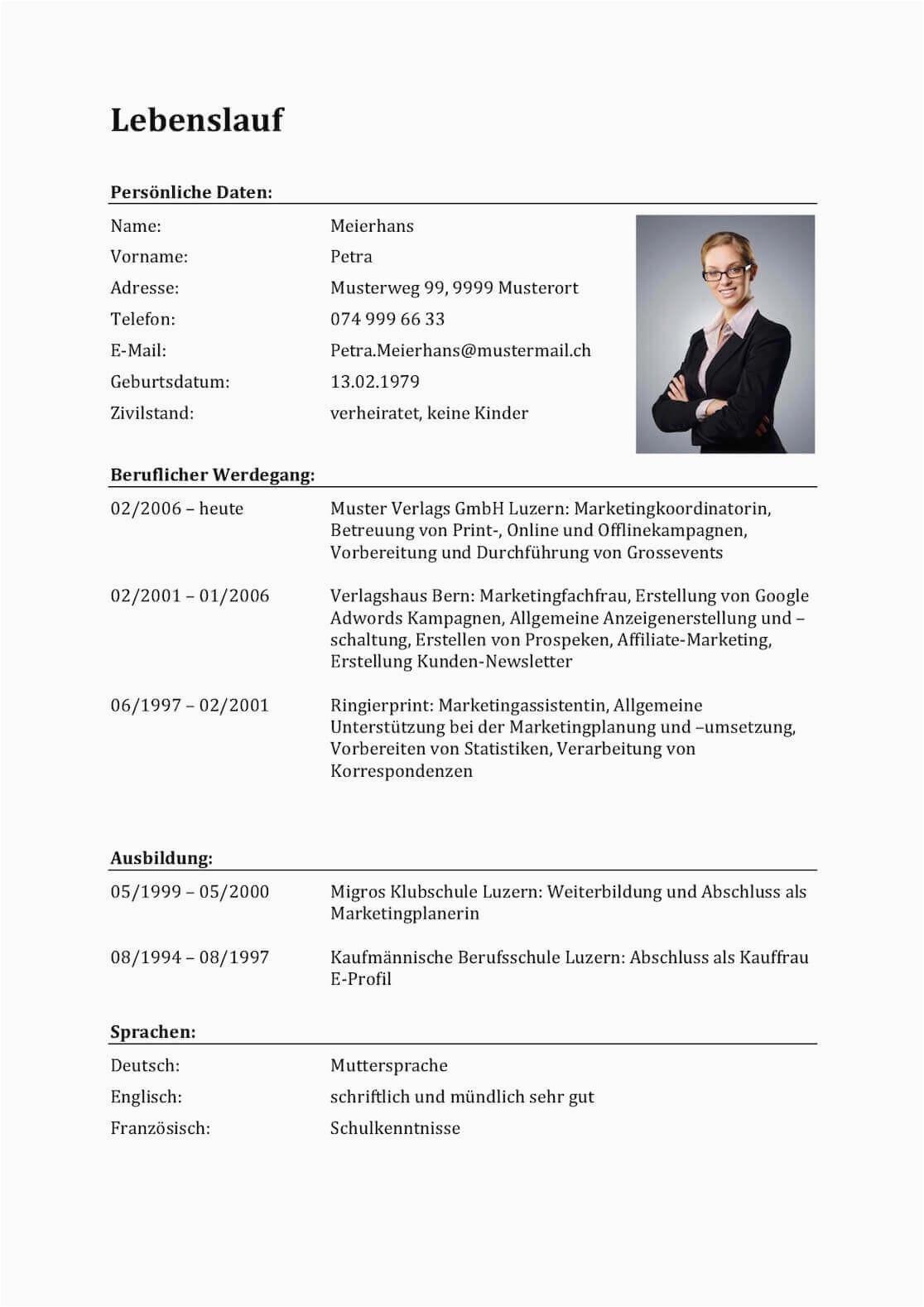 Vorlagen Lebenslauf Schweiz Lebenslauf Vorlagen & Muster Für Bewerbung In Der Schweiz
