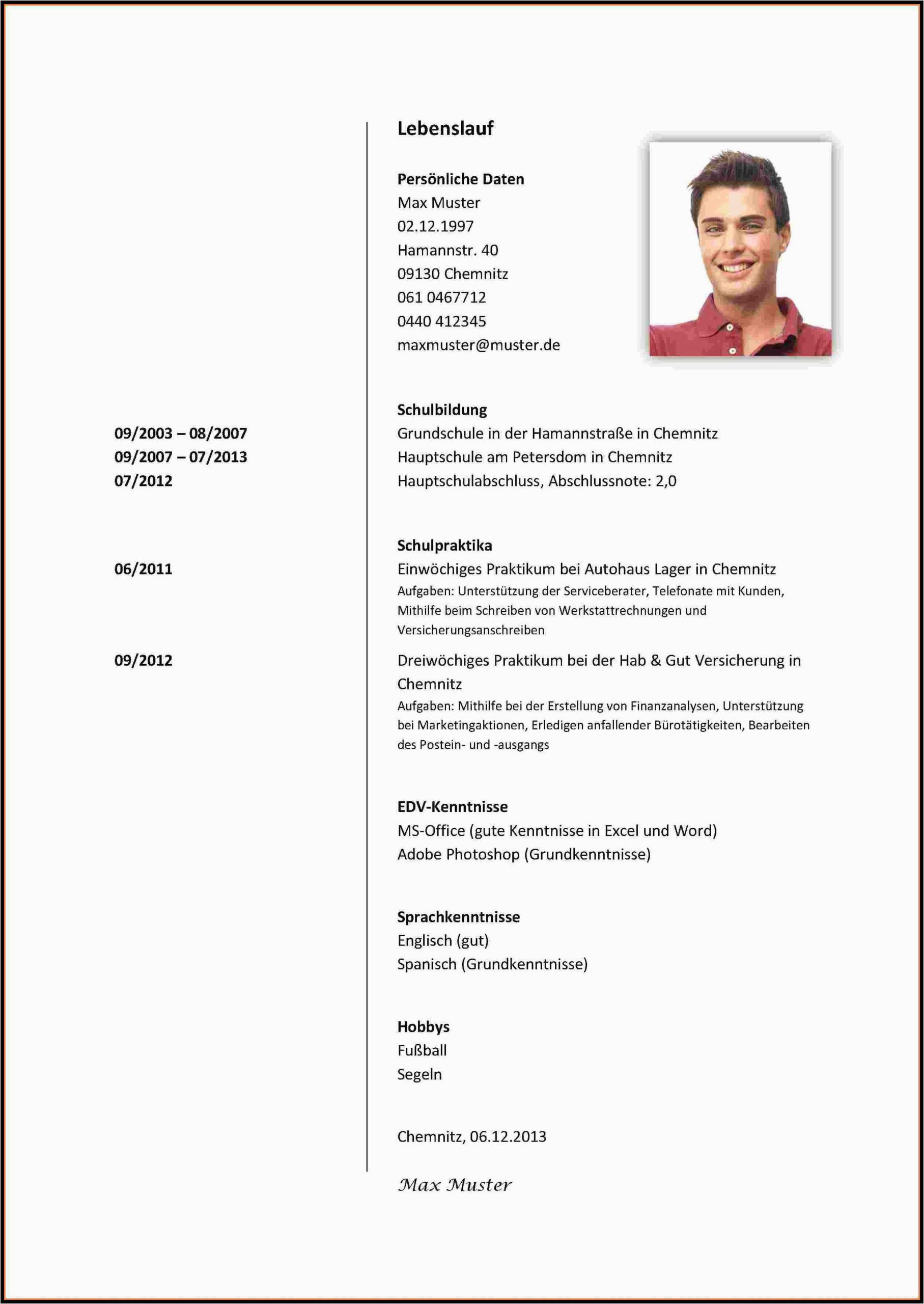 muster lebenslauf vorlage vordruck kostenlos word schueler vorlagen gratis englisch schulbewerbung 7 schlerpraktikum deckblatt facharbeit