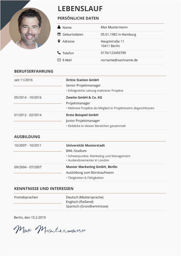 lebenslauf vorlage bewerbung lebenslauf vorlagen and muster kostenloser als pdf of lebenslauf vorlage bewerbung 1