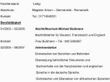 Deutsch Als Sprache Im Lebenslauf Lebenslauf Magister Artium Germanistik Romanistik