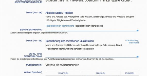 Europäischer Lebenslauf Vorlage Deutsch Word Europass Lebenslauf Deutsch Muster Lebenslauf