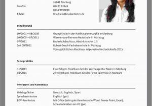 Lebenslauf Bewerbung Deutsch Lebenslauf Schreiben Vorlage
