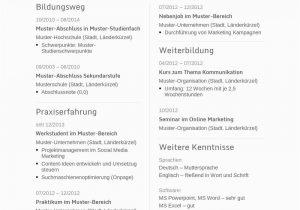 Lebenslauf Deutsch Online Lebenslauf Vorlagen & Muster ...