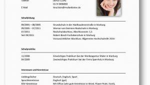 Lebenslauf Deutsch Praktikum Tabellarischer Lebenslauf Beispiel 2