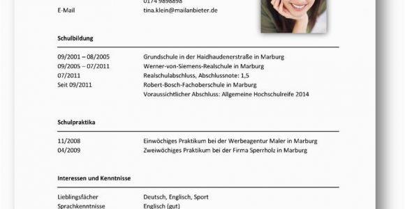 Lebenslauf Deutsch Schüler Tabellarischer Lebenslauf Beispiel 2