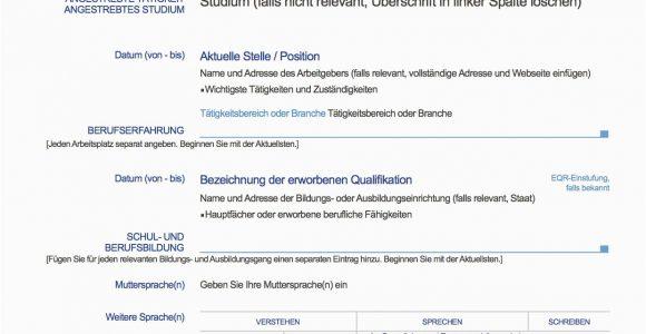 Lebenslauf Europass Deutsch Beispiel Europass Lebenslauf Deutsch Muster Lebenslauf