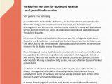 Lebenslauf Muster Verkäuferin Verkäufer M W Mit Sinn Für Mode Cv & Bewerbung