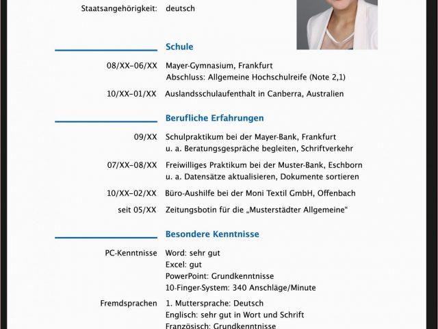 Lebenslauf Vorlage Nach Der Ausbildung 14 Fabelhaft ...