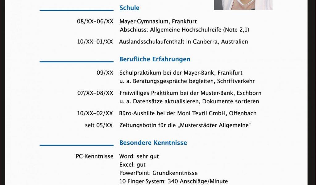 Lebenslauf Vorlagen Nach Ausbildung 14 Fabelhaft ...