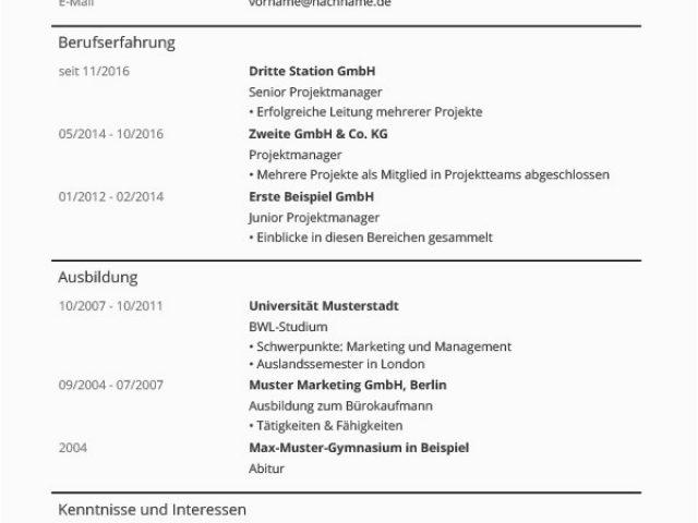 Moderner Lebenslauf In Word Lebenslauf Vorlagen & Muster ...